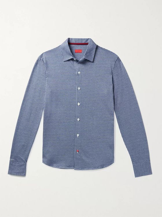 Isaia Slim-Fit Micro-Checked Cotton Shirt