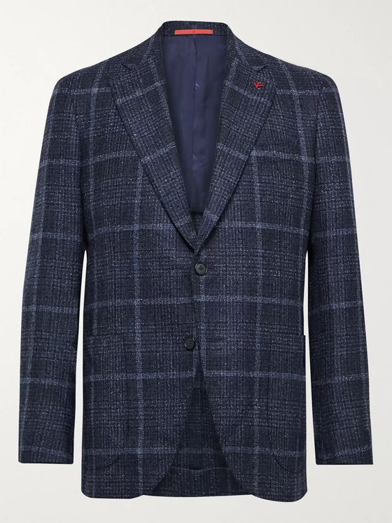 Isaia Slim-Fit Checked Wool-Blend Bouclé Blazer
