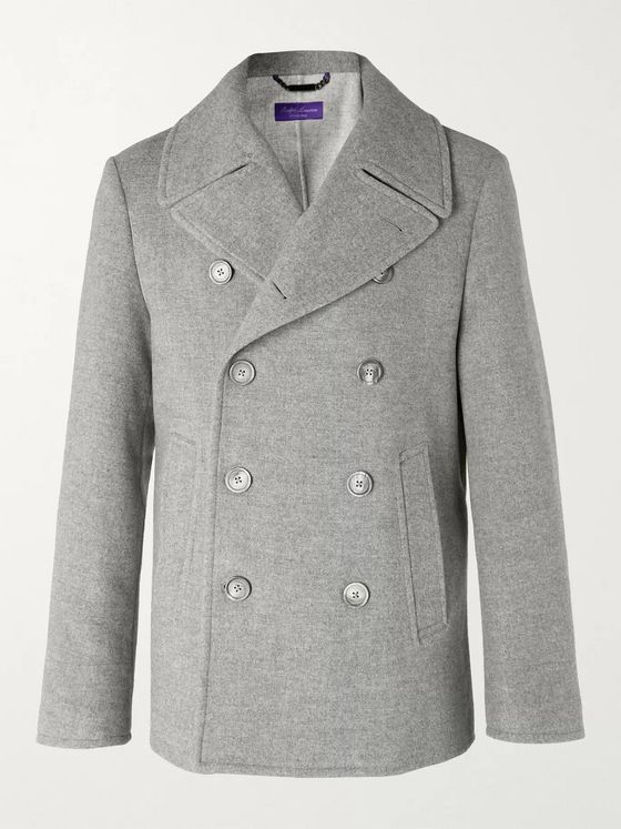 Ralph Lauren Purple Label Double-Breasted Mélange Wool-Blend Pea Coat