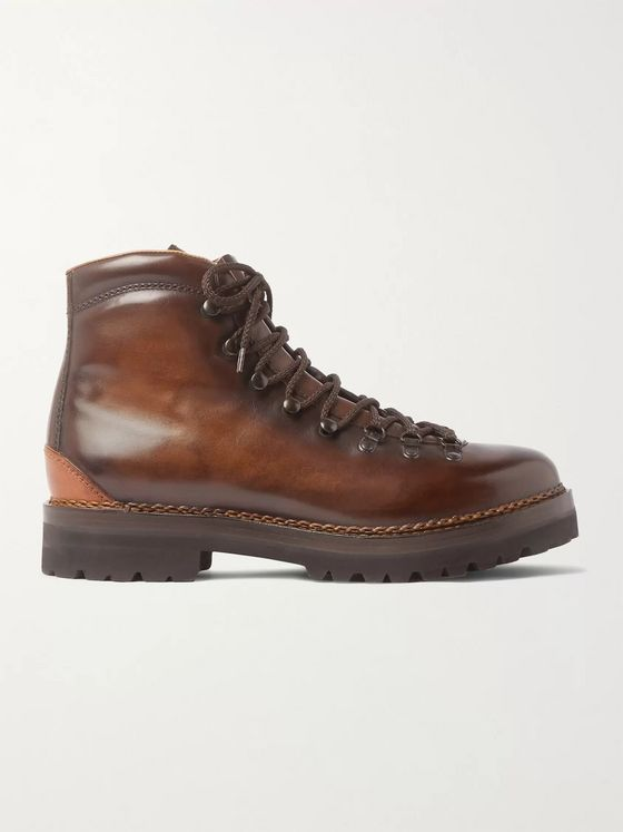 Ralph Lauren Purple Label Fidel Burnished-Leather Boots