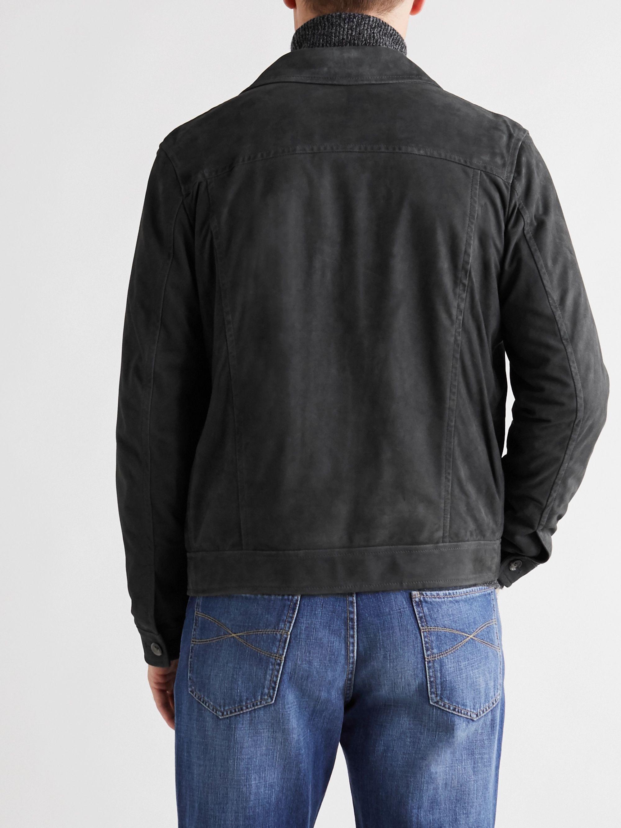 Blue Slim-fit Suede Trucker Jacket | Isaia