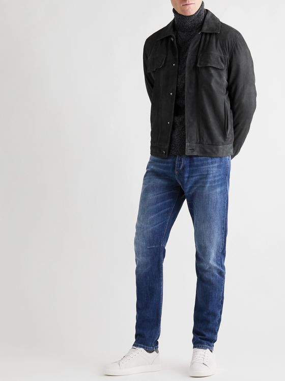 Isaia Slim-Fit Suede Trucker Jacket