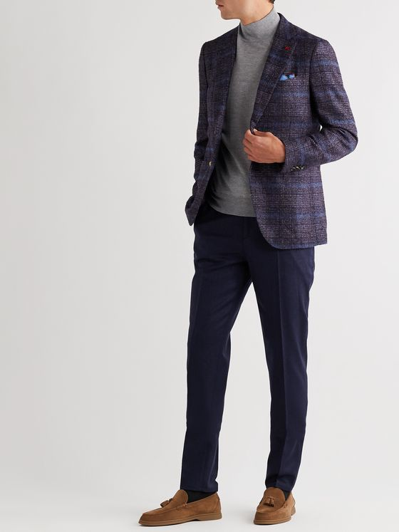 Isaia Slim-Fit Unstructured Checked Bouclé Blazer