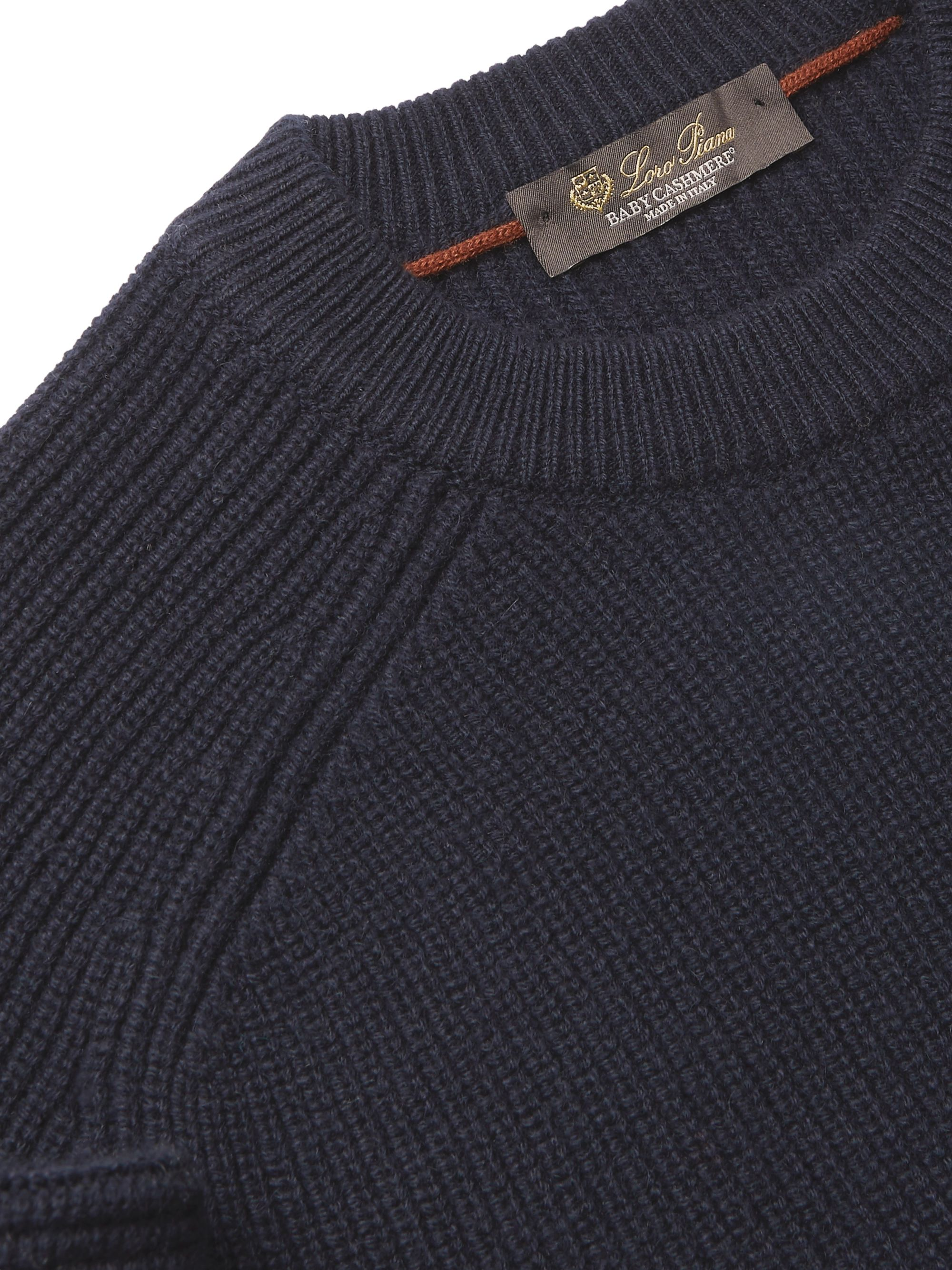Loro Piana Lexington Striped Ribbed Baby Cashmere Sweater