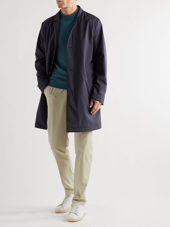 LORO PIANA Windmate Suede-Trimmed Storm System Nylon Overcoat