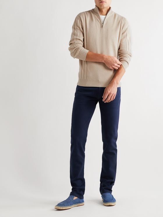 LORO PIANA Baby Cashmere and Silk-Blend Half-Zip Sweater