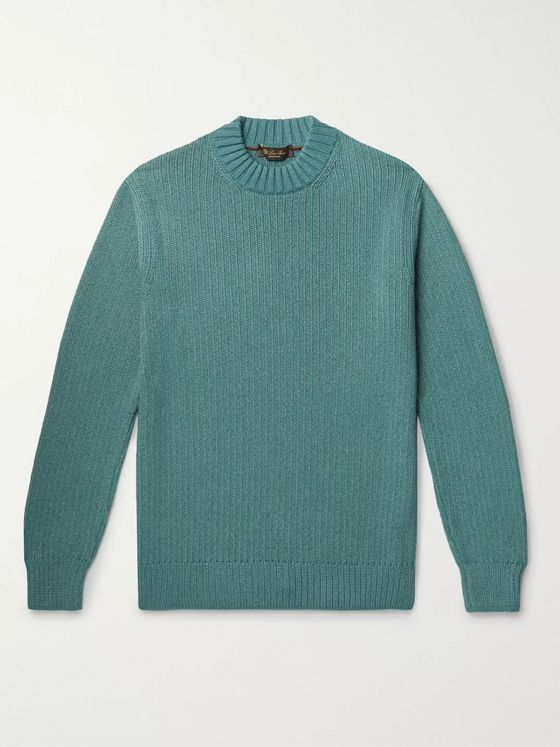 Loro Piana Ribbed Mélange Silk and Cashmere-Blend Sweater
