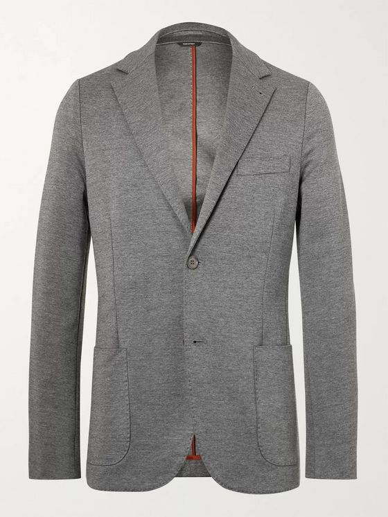 LORO PIANA Slim-Fit Unstructured Mélange Cotton-Blend Jersey Blazer