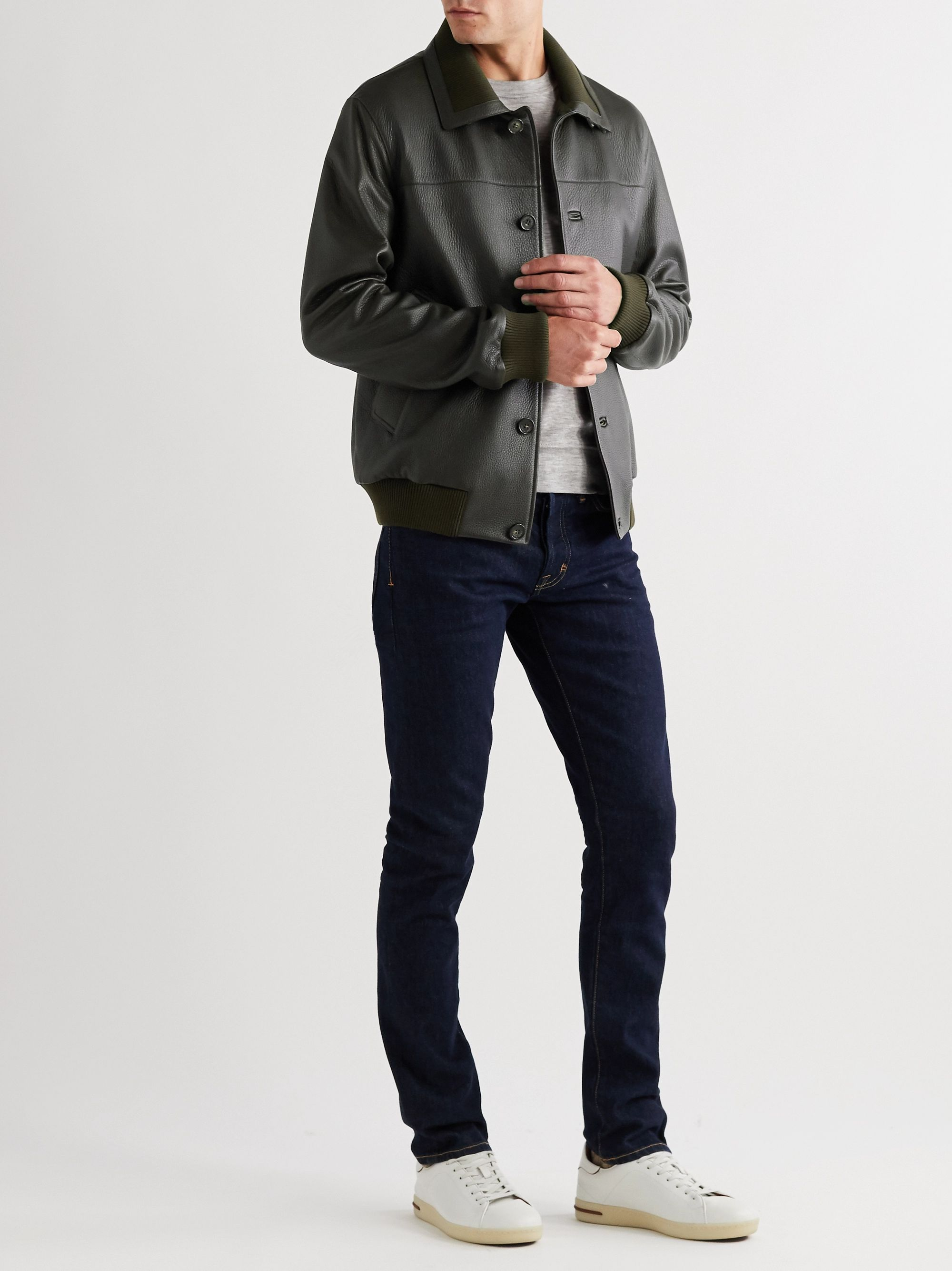 Loro Piana Full-Grain Leather Bomber Jacket