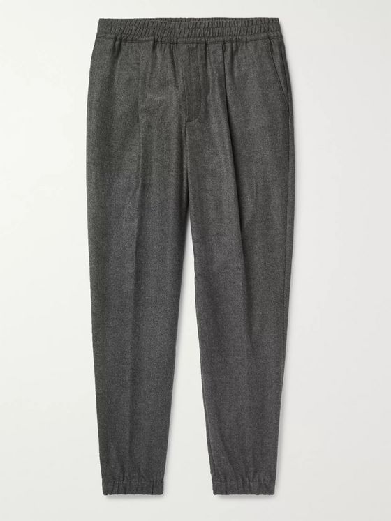 LORO PIANA Tapered Mélange Wool and Cashmere-Blend Drawstring Trousers