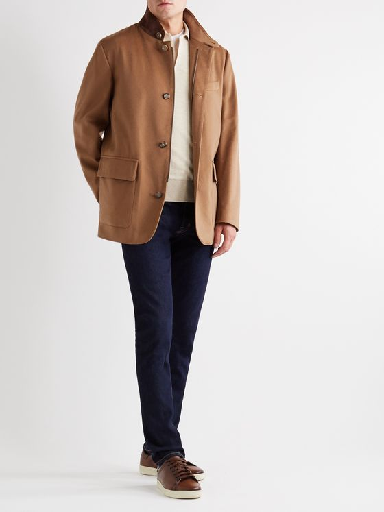 LORO PIANA Roadster Suede-Trimmed Cashmere Jacket
