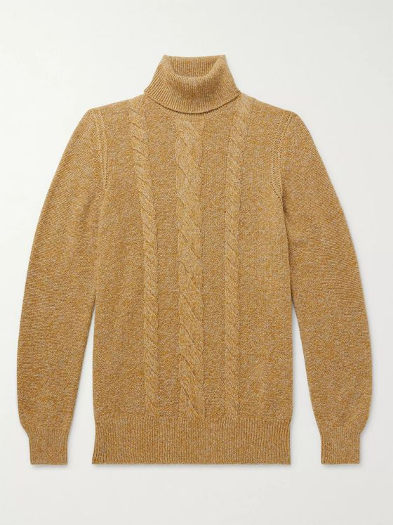 Loro Piana Cable-Knit Mélange Baby Cashmere Rollneck Sweater