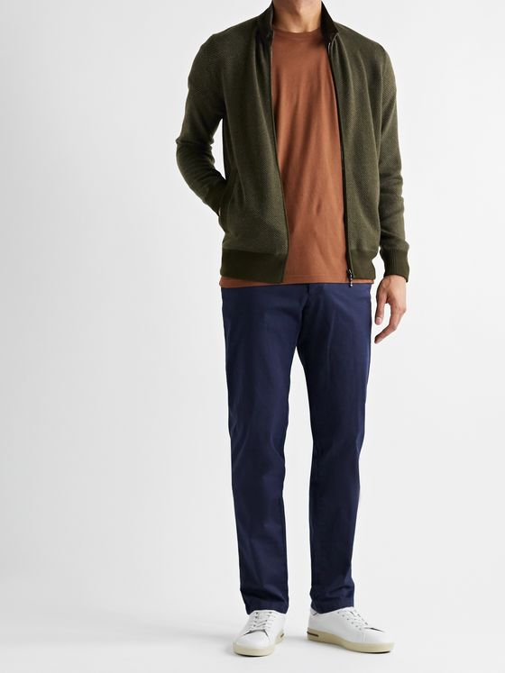Loro Piana Roadster Slim-Fit Suede-Trimmed Cashmere-Twill Zip-Up Cardigan