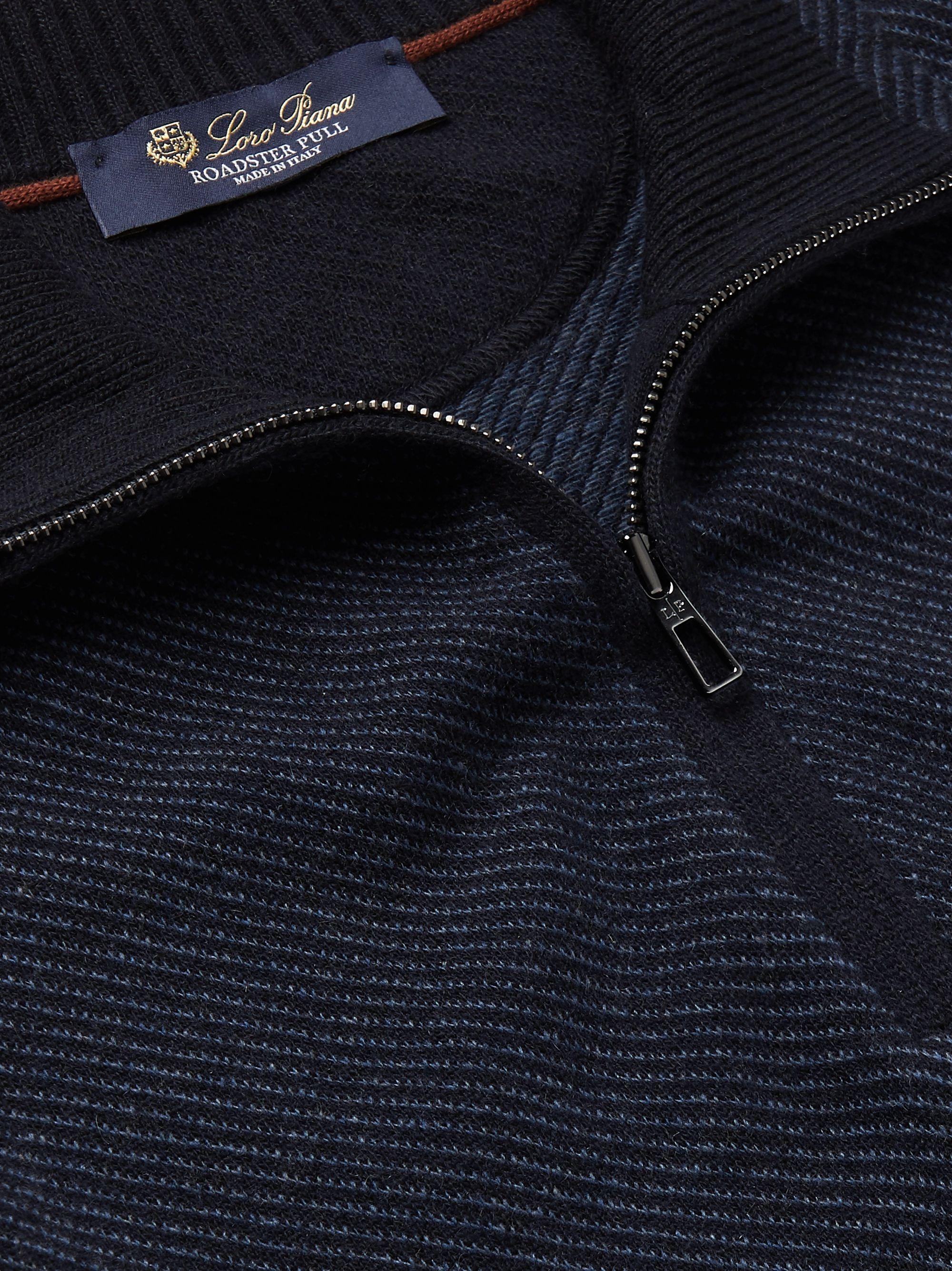Navy Roadster Striped Cashmere Half-zip Sweater   Loro Piana