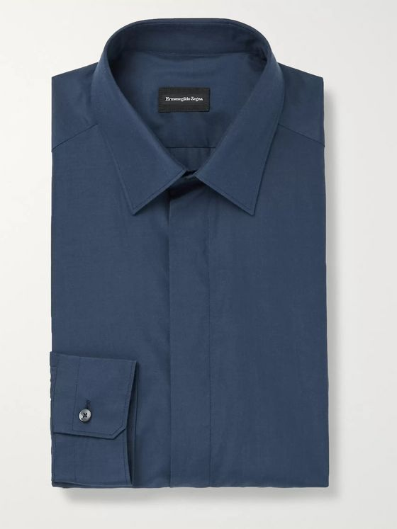 ERMENEGILDO ZEGNA Silk and Cotton-Blend Shirt