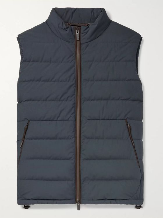 Ermenegildo Zegna Suede-Trimmed Quilted Shell Down Gilet