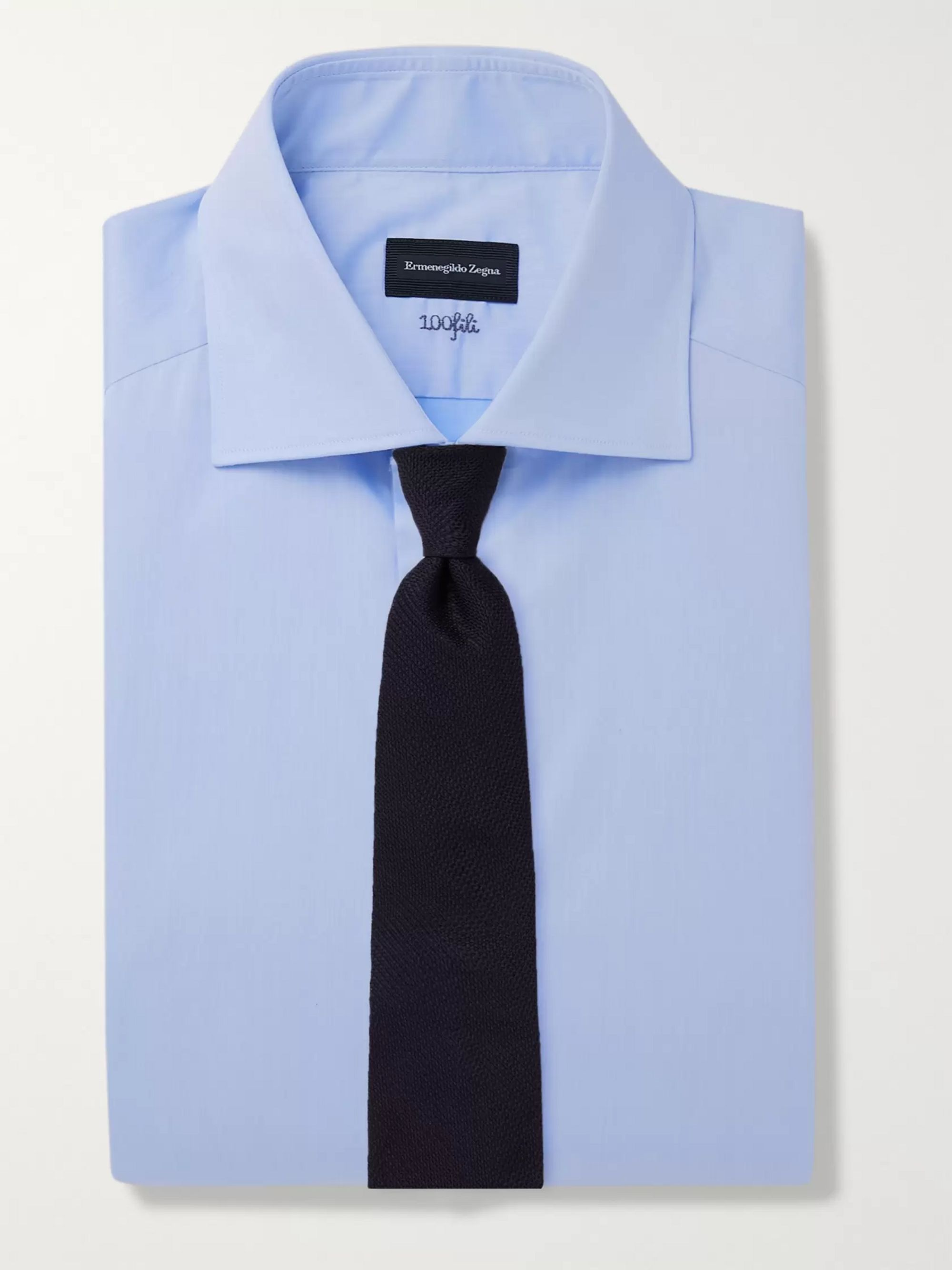 ERMENEGILDO ZEGNA Cutaway-Collar Cotton-Twill Shirt