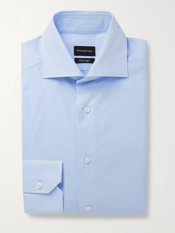 Ermenegildo Zegna Cutaway-collar Herringbone Cotton Shirt In Blue