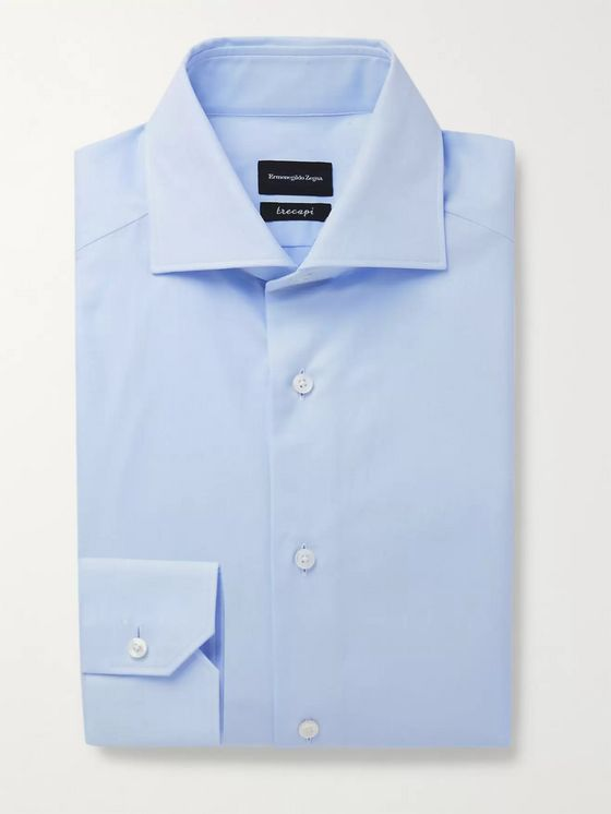 ERMENEGILDO ZEGNA Cutaway-Collar Herringbone Cotton Shirt