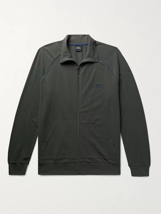 Hugo Boss Piped Logo-Embroidered Stretch-Cotton Jersey Track Jacket