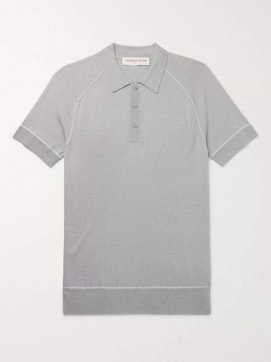 Orlebar Brown Milburn Slim-Fit Contrast-Tipped Merino Wool and Silk-Blend Polo Shirt