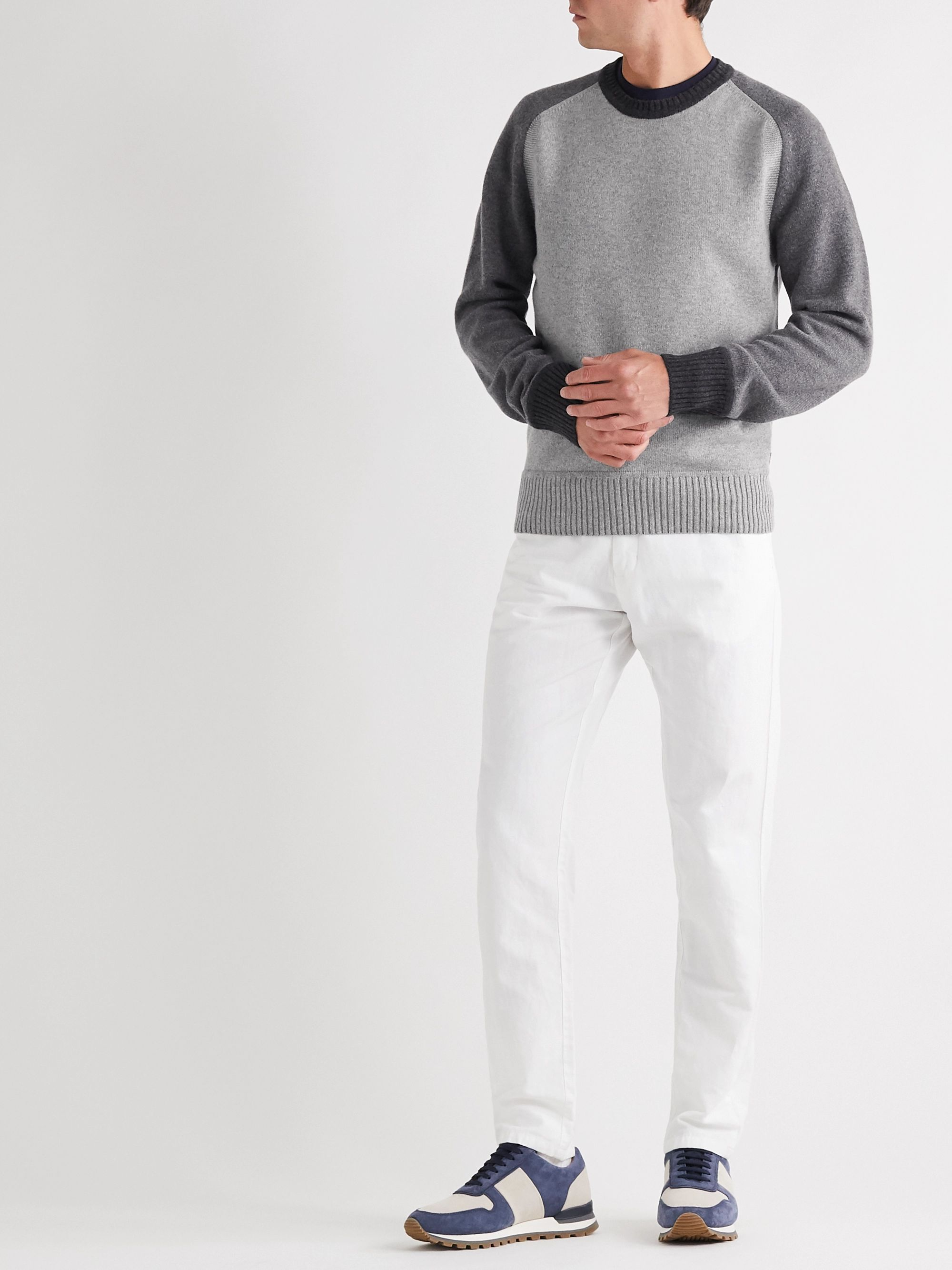 Orlebar Brown Ethan Colour-Block Cashmere and Merino Wool-Blend Sweater