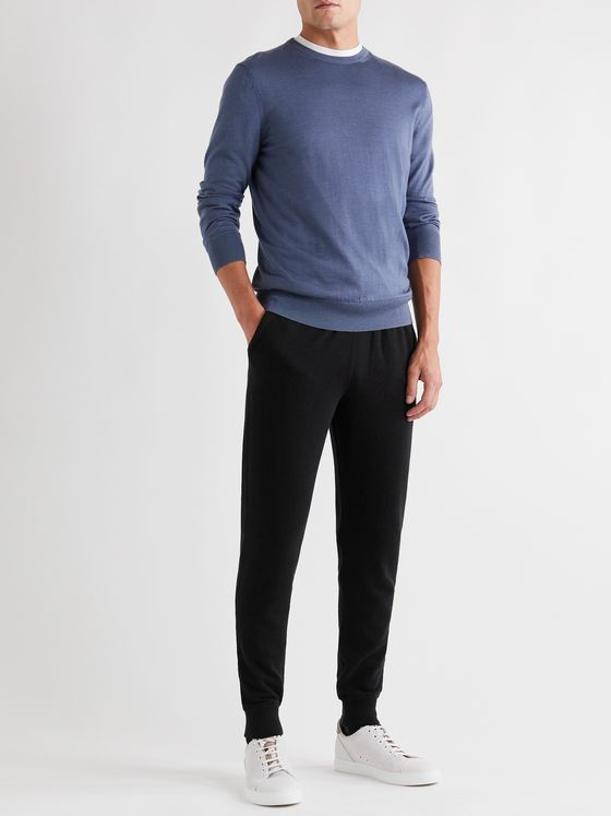 ERMENEGILDO ZEGNA Slim-Fit Tapered Cashmere Track Pants