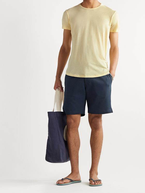Orlebar Brown Swanson Webbing-Trimmed Cotton Drawstring Shorts