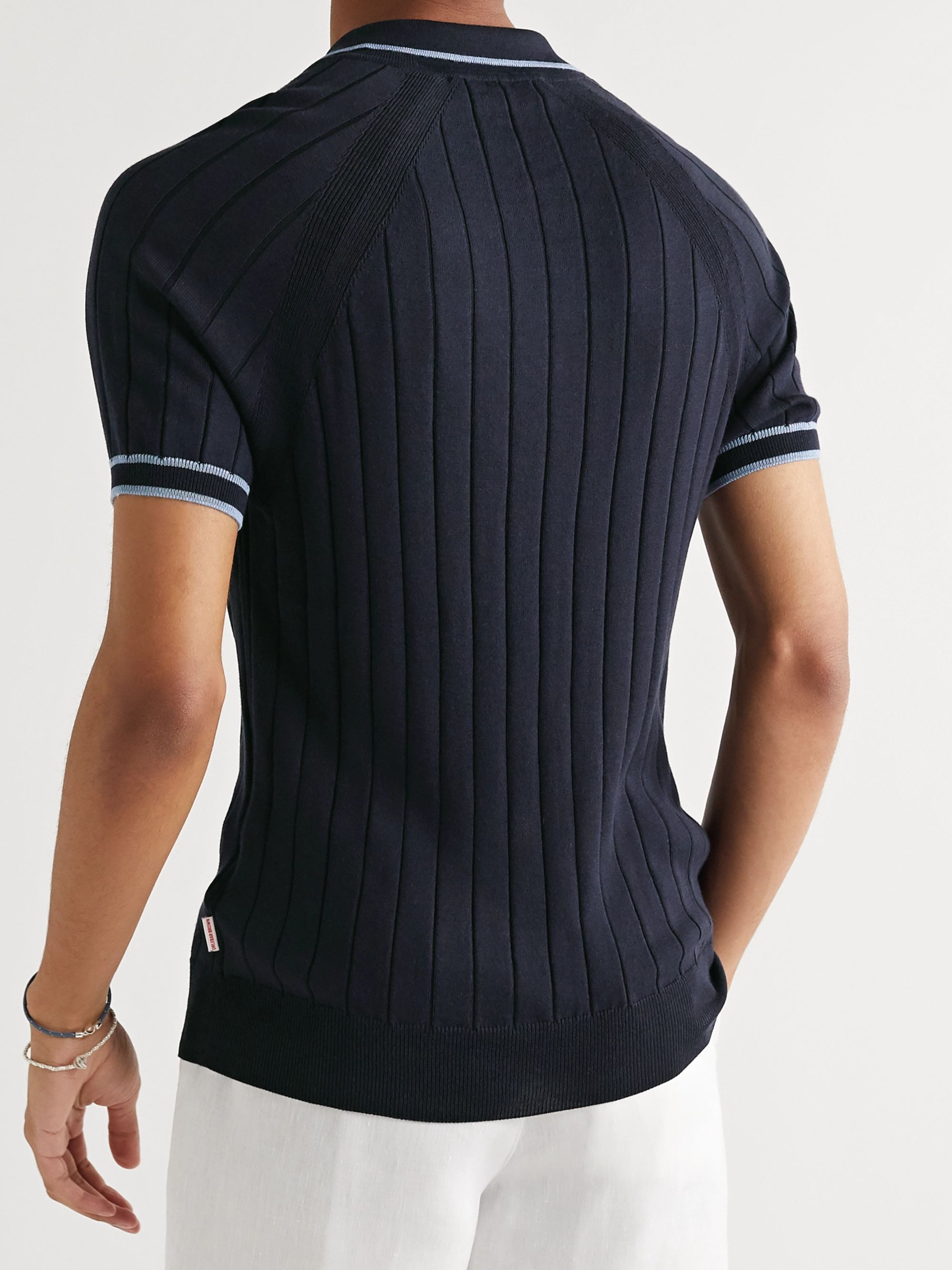 Navy Deco Slim-fit Contrast-tipped Ribbed Cotton And Silk-blend Polo Shirt   Orlebar Brown