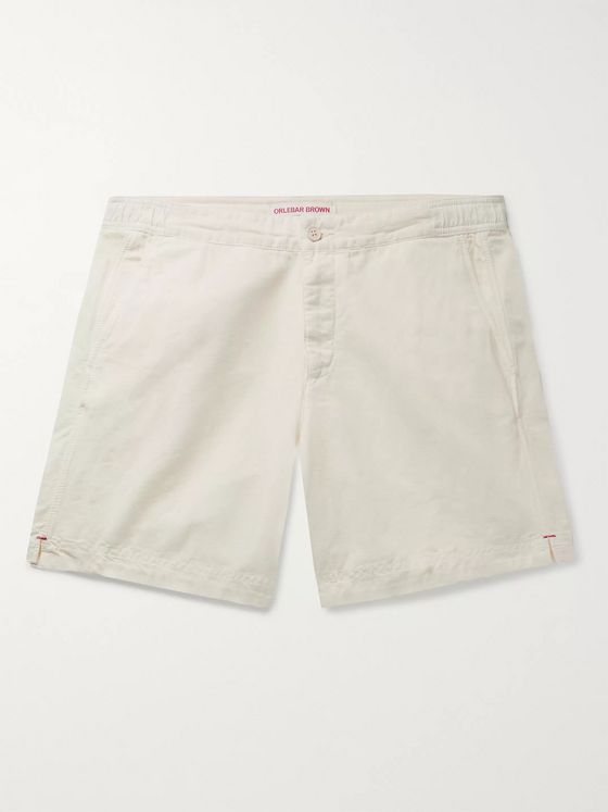 Orlebar Brown Bulldog Garment-Dyed Slubbed Cotton and Linen-Blend Shorts