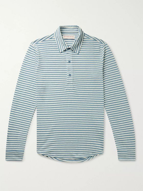 Orlebar Brown Sebastian Slim-Fit Striped Cotton and Linen-Blend Polo Shirt