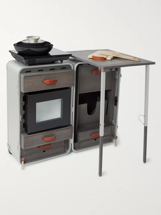 FPM Milano Special Edition Leather-Trimmed Aluminium and Wood Cookstation
