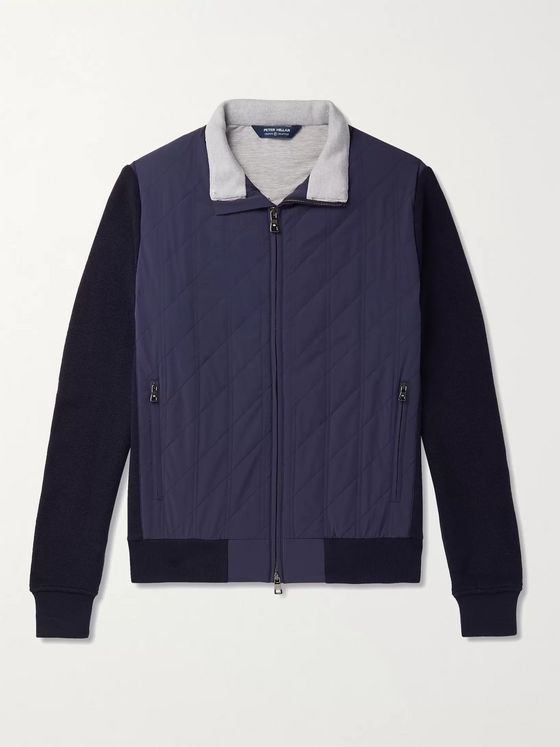 PETER MILLAR Stealth Panelled Quilted Shell and Merino Wool Jacket