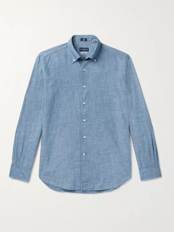 PETER MILLAR Button-Down Collar Cotton-Chambray Shirt