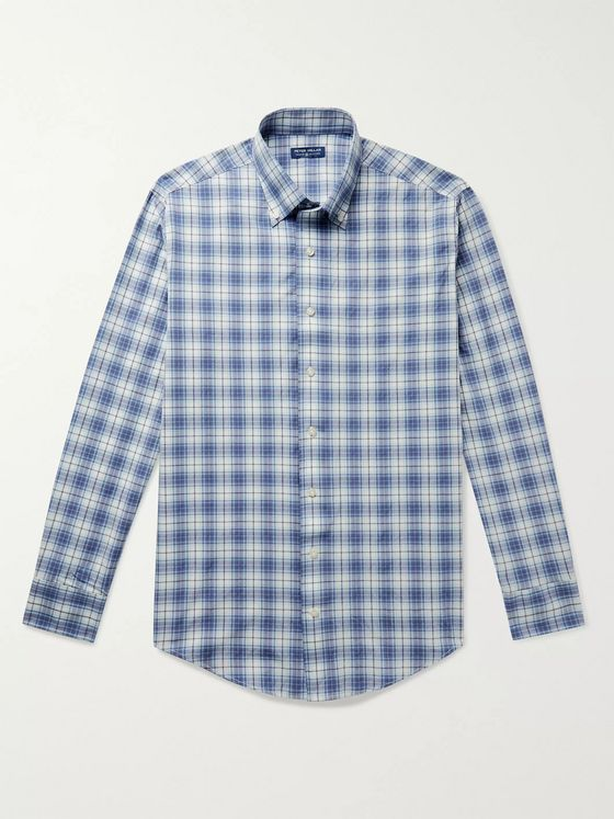 PETER MILLAR Oliver Button-Down Collar Checked Woven Shirt