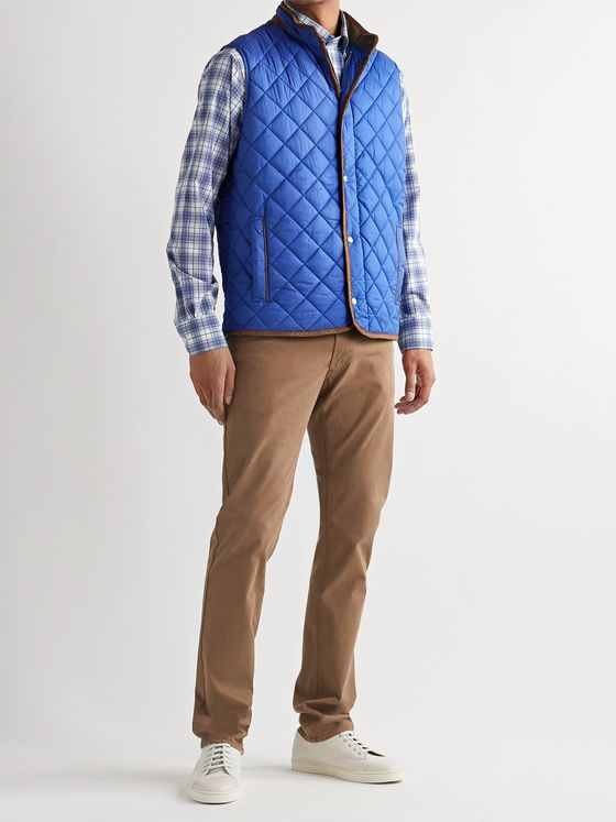 Peter Millar Essex Suede-Trimmed Quilted Shell Gilet