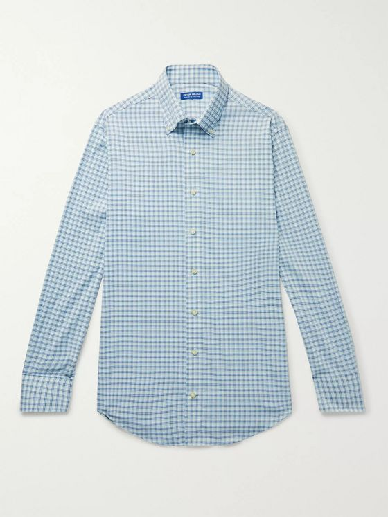 PETER MILLAR Wynton Button-Down Collar Checked Stretch-Nylon Shirt