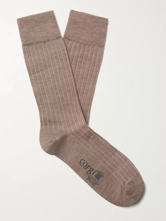 Corgi Ribbed Wool-Blend Socks