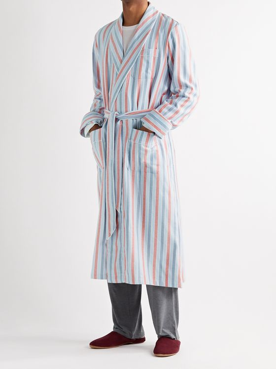 Derek Rose Kelburn Striped Brushed Cotton Robe