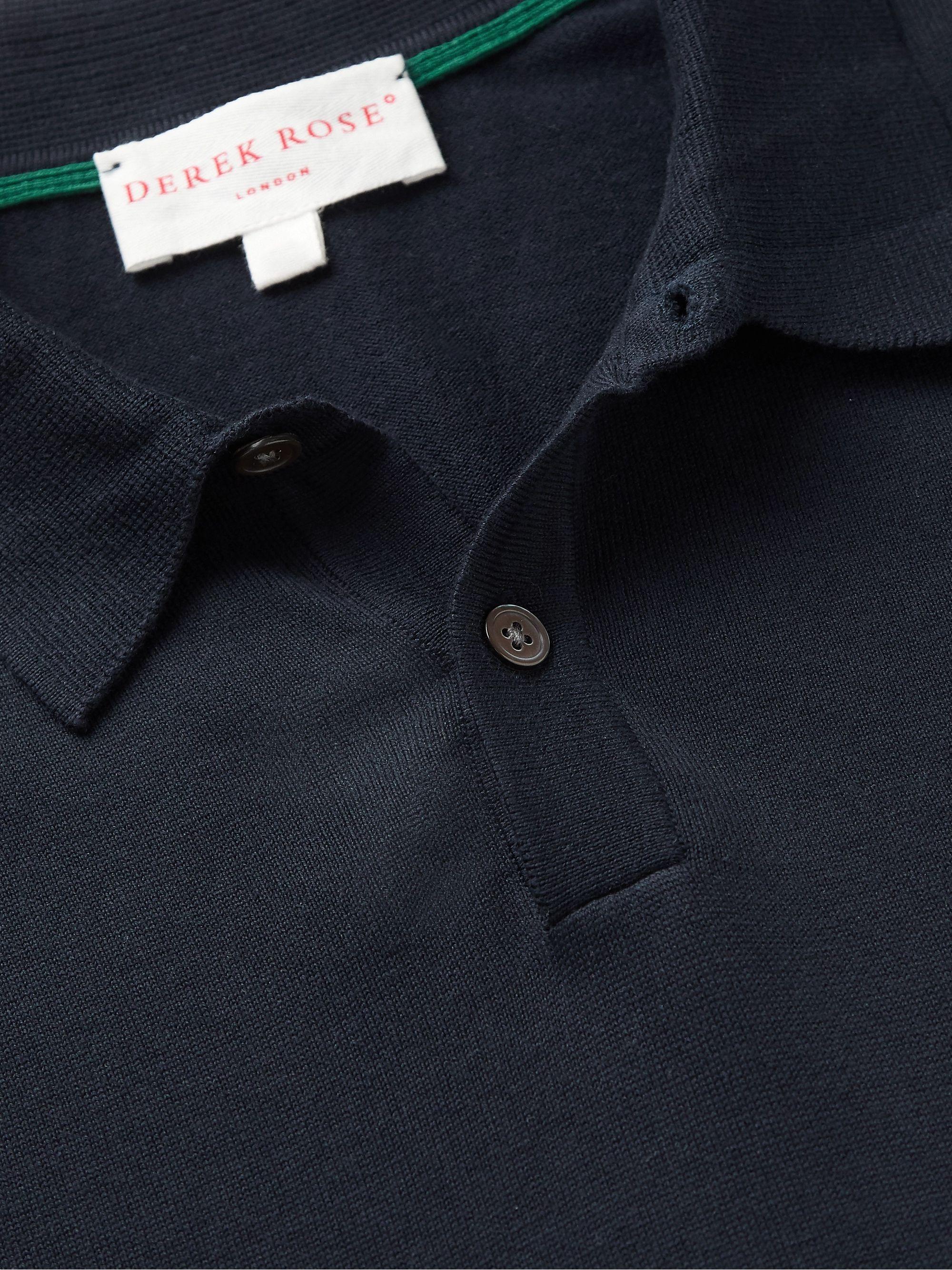 Navy Jacob Sea Island Cotton Polo Shirt | Derek Rose