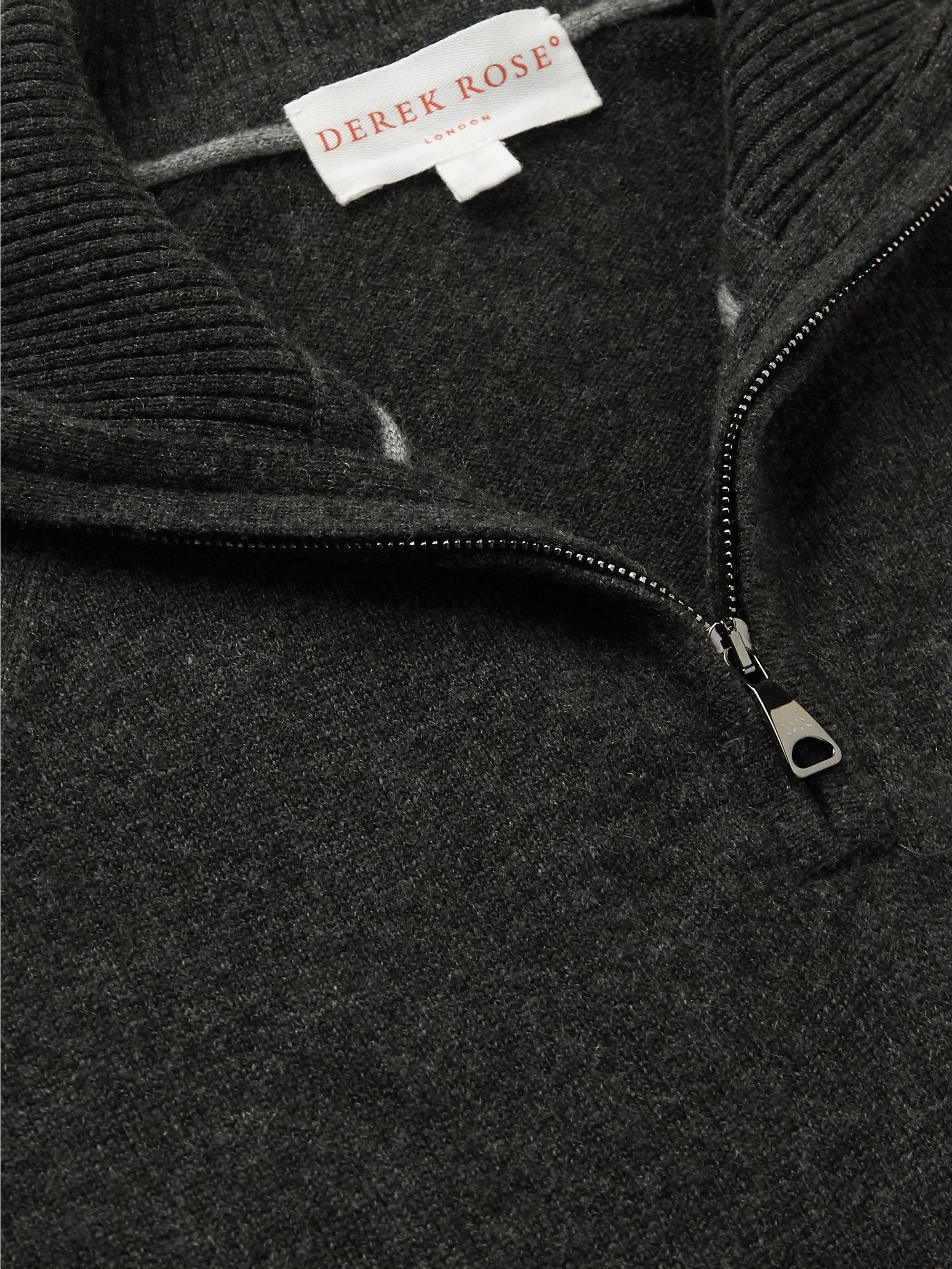 Charcoal Finley 2 Cashmere Half-zip Sweater | Derek Rose