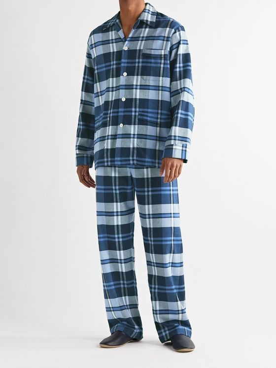 Derek Rose Checked Kelburn Cotton-Flannel Pyjama Set