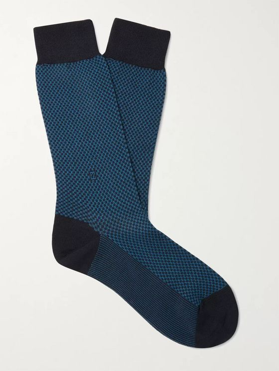 Ermenegildo Zegna Micro-Checked Stretch Cotton-Blend Socks
