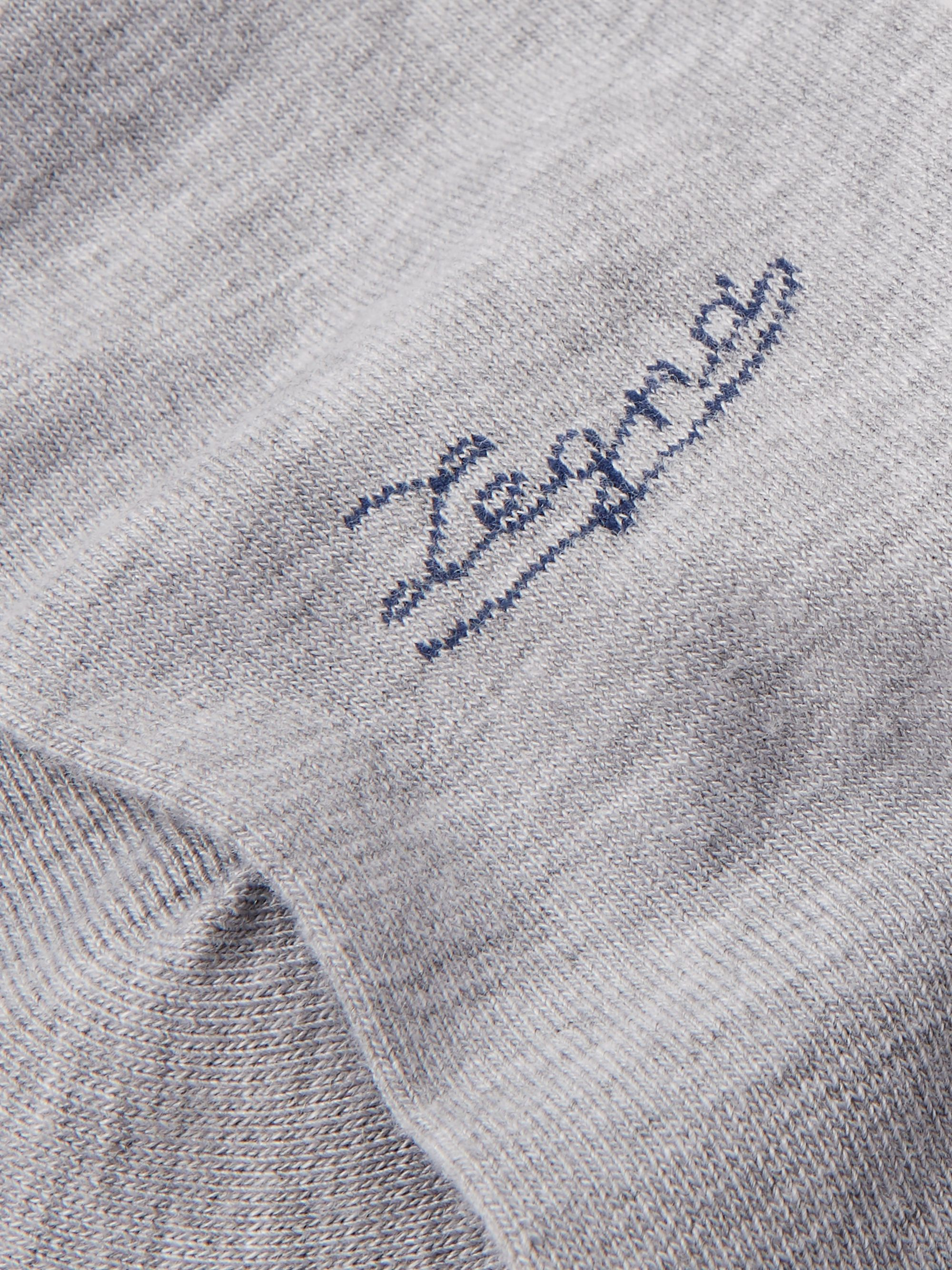 Ermenegildo Zegna Logo-Embroidered Mélange Stretch-Knit Socks