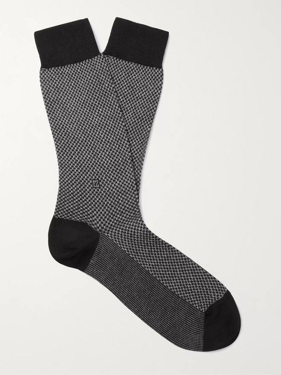Ermenegildo Zegna Micro-Checked Stretch-Cotton Blend Socks