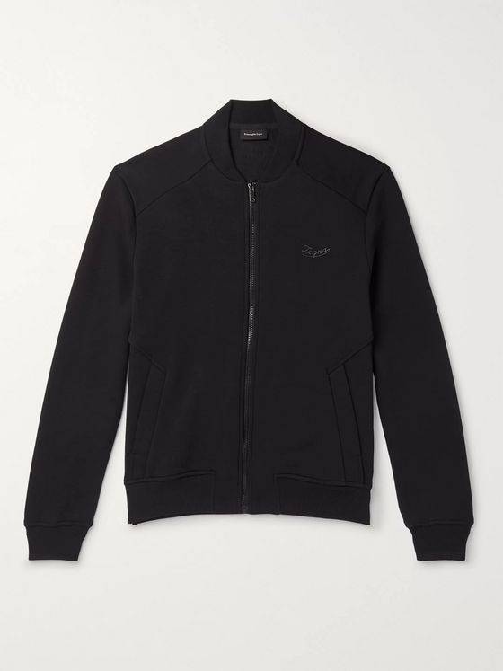 Ermenegildo Zegna Slim-Fit Fleece-Back Cotton-Blend Jersey Bomber Jacket