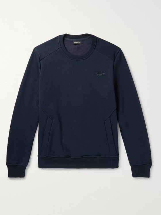 Ermenegildo Zegna Logo-Detailed Fleece-Back Cotton-Blend Jersey Sweatshirt