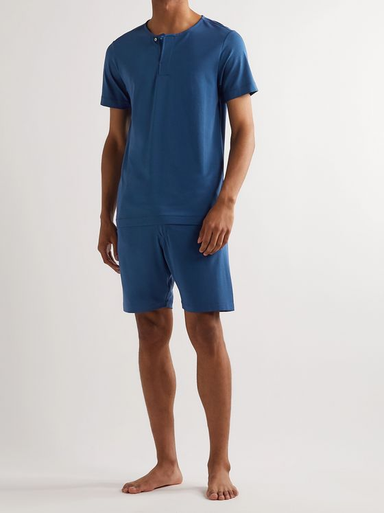 Hamilton and Hare Stretch-Lyocell and Cotton-Blend Henley Pyjama T-Shirt