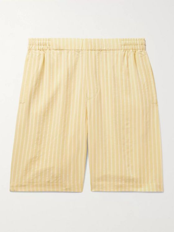 Hamilton and Hare Striped Lyocell-Jacquard Pyjama Shorts