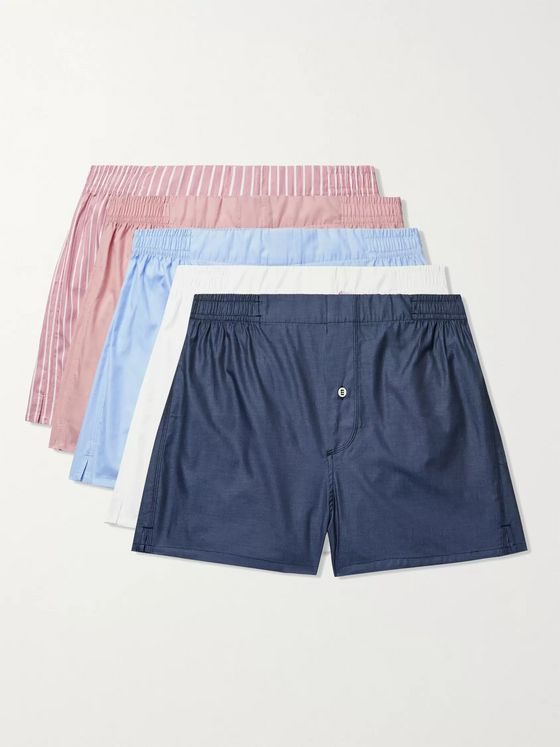 Hamilton and Hare Five-Pack Cotton-Blend Boxer Shorts